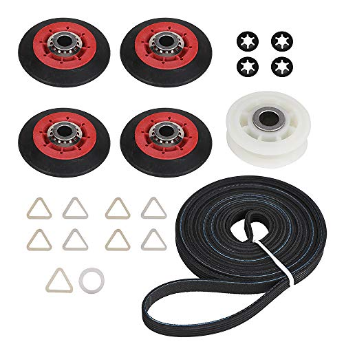4392067 Dryer Repair Kit for Whirlpool Maytag Kenmore Crosley Kitchen-Aid Admiral. Drum Roller, Belt, & Pulley Kit Replace Part 2015, 80047, 587637, 4392067VP, AP3109602, PS373088, EAP373088