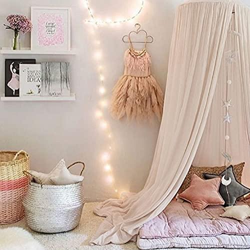 Betthimmel Babybett Mädchen Jungen Baldachin Betthimmel Baumwolle Moskitonetz Kinderzimmer Schlafzimmer Spielzimmer Dekoration Khaki