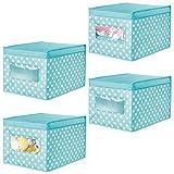 mDesign Juego de 4 cajas organizadoras grandes de tela – Caja de almacenaje apilable con tapa y ventanilla – Para ordenar armarios y zapatos – Organizador de armarios de lunares – azul turquesa/blanco