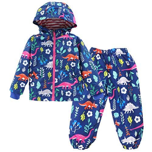 LvRao Kinder Mädchen Regenjacke mit Kapuze Regenhose 2pcs Bekleidungsset Tierdruck Blumen Regenbekleidung (Marine Gedruckt, 120)