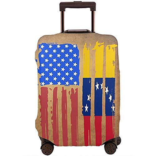 American Half Venezuela Flag Travel Equipaje de Viaje Funda Protectora Maleta elástica Funda de...