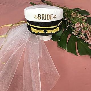 Brides CAPTAIN HAT Wedding Veil BEACH BACHELORETTE Hat  f956c5a7053f