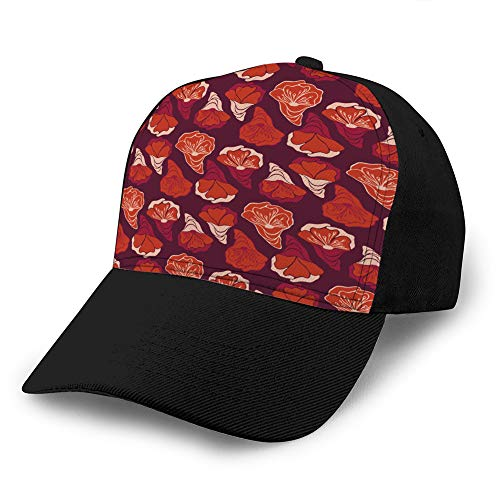 Holefg3b Trucker Hut Unisex Adult Baseball Mesh Cap niedlich Retro rote Rosenblüte Blumenkopf Trucker Hüte