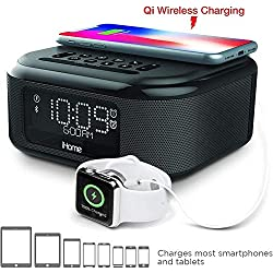 iHome iBTW38 Alarm Clock Bluetooth Stereo with Lightning iPhone Qi Wireless Charging Dock Station for iPhone Xs, XS Max, XR, X, iPhone 8/7/6 Plus USB Port to Charge Any USB Device