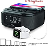 7. iHome iBTW38 Alarm Clock Bluetooth Stereo with Lightning iPhone Qi Wireless Charging Dock Station for iPhone Xs, XS Max, XR, X, iPhone 8/7/6 Plus USB Port to Charge Any USB Device