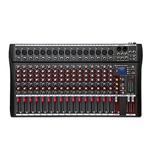 WanuigH Audio Mixer 16-kanaals Professional DJ Studio Live Studio Audio Mixer Sound Console Eenvoudige bewaking en…