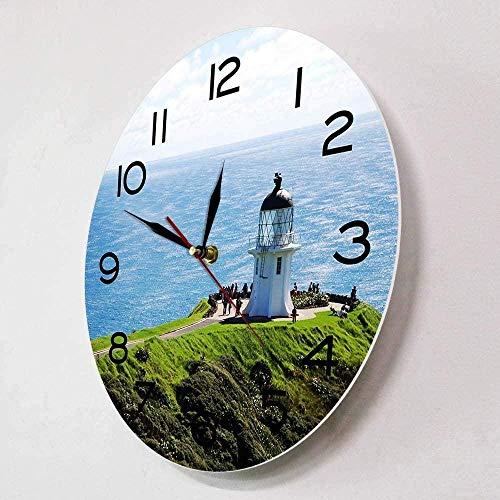 Reloj de pared con diseño moderno de la isla del Norte de Cape Reinga, diseño moderno de Nueva Zelanda S North Edge Travel House Art Deco Reloj de pared, 30 x 30 cm