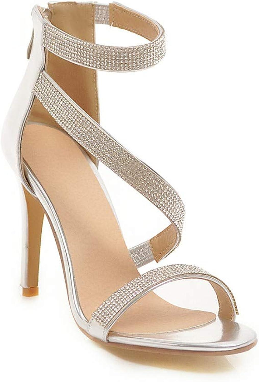 Women Dress Sandals Stiletto Heels Stripper shoes Big Size Summer Rome White Silver
