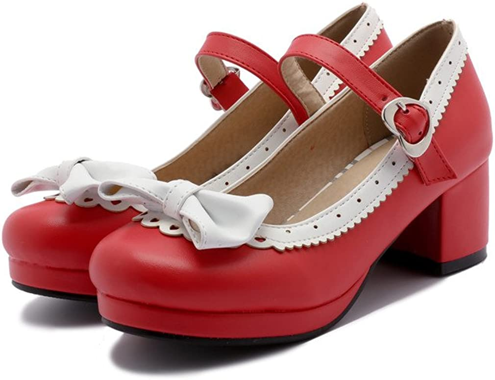 ELFY Women's Cute Max 61% OFF Lolita Cosplay 40% OFF Cheap Sale Shoes Bow Mid Heel Chunky Mary