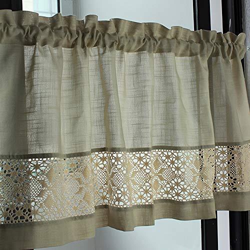 choicehot Visillo vintage de lino, estilo rústico, encaje, algodón, ribete de ganchillo, cortina de bistro retro, color beige oscuro, 60 x 140 cm, 1 pieza