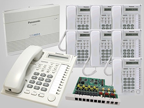 8 Panasonic KX-T7730 White Phones + Panasonic KX-TA824 Hybrid Phone System with KX-TA82483 3x8 Expansion Card