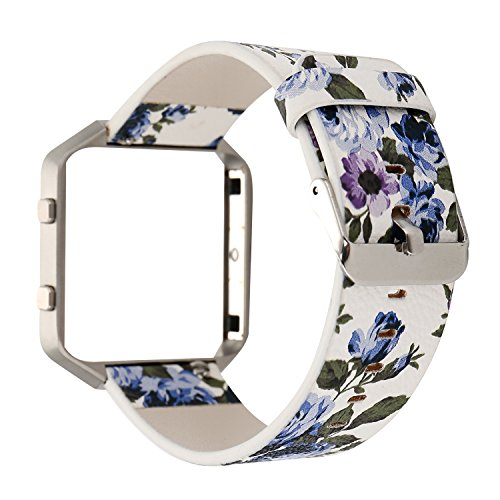Women Flower Watch Strap for Fitbit Blaze Bands, Soft Leather Replacement Wristband Bracelet with Metal Frame for Fitbit Blaze Smart Fitness Watch (White+Blue)