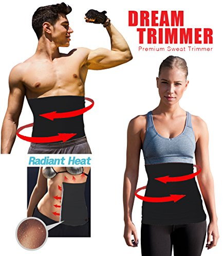 "Waist Trimmer. Belly Fat Cellulite Burner with Silver Anti-Bacterial Coating, Body Shaper Exercise Belt, Sweat Sauna Abdominal Binder, Training Fitness Belt, Men's Large: 32""-34"""