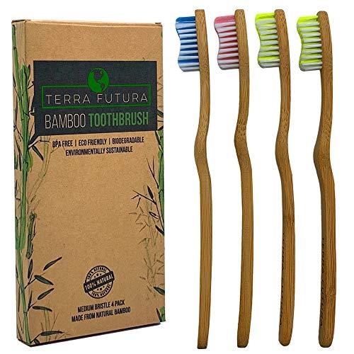 Terra Futura Bamboo Toothbrush, 4 Pack Multi-Color, Ergonomic Toothbrush. Eco Friendly, Biodegradable & Environmentally Sustainable, BPA Free Bristles, Eco Compostable Toothbrush