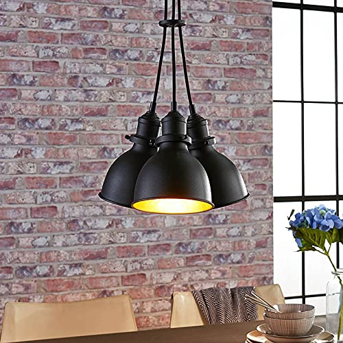 Lámpara colgante 'Lira' (Industrial) en Negro hecho de Metal e.o. para Salón & Comedor (3 llamas, E27) de Lindby | lámpara colgante, lámpara colgante, lámpara, lámpara de techo, lámpara de techo