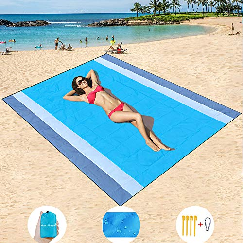 "Mumu Sugar Sand Free Beach Mat Oversized 82"" X79"" Sand Proof Beach Blanket Outdoor Picnic Mat for Travel, Camping, Hiking and Music Festivals-Lightweight Quick Drying Heat Resistant"