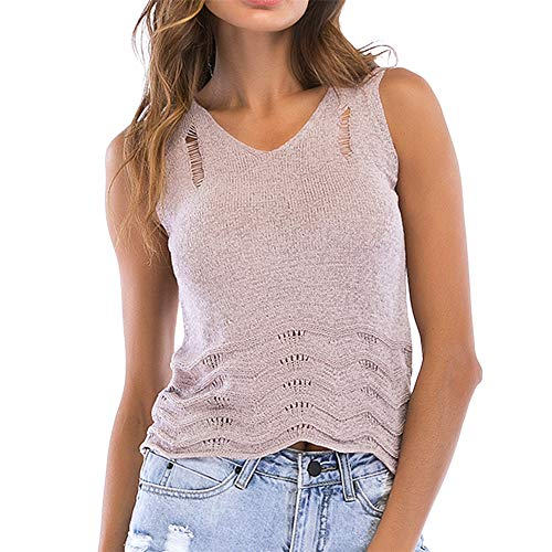 Camisa de Mujer Tops Floral Up Cami Camiseta sin Mangas Nudo a Rayas Cuello en V Tanque de Punto Chaleco Blusa Camisa Tops Chaleco de Punto Hueco de Ganchillo de Verano Ocasionales de la Blusa Cami