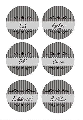 das-label 84 x Gewürz- und Vorratsetiketten | Streifen-Design dunkelgrau | 40 mm + 60 mm rund | Vorratsetiketten, Haushaltsetiketten | Geürzetiketten