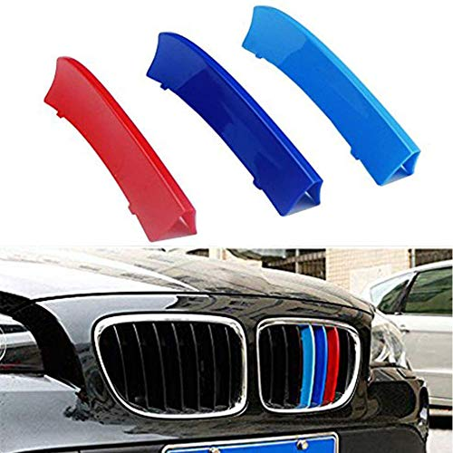 BNHHB For B MW 3 Series E90 E91 320 325 330 335 2005-2008 12 Grilles 3D MotorSport Front Grille Trim Strips Grill Cover Decoration Stickers Radiator Grill Stripes Decor Auto Accessories 3 colours