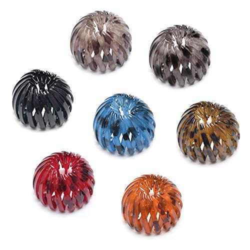 7 PCS Colorful Bird Nest Shaped Hair Holder, Expandable Plastic Ball Bun Ponytail Birds Nest Hair Clip Vintage, Retractable Ponytail Hairpin Curling Iron Hair Claw Clamps Accessories for Women