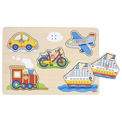 GOKI-57519 Puzzles de maderaPuzzles de maderaGOKIPuzzle de Sonido, Medios de Transporte, Multicolor (57519) , color/modelo surtido