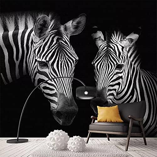 Papel Tapiz Fotográfico 3D Retro Vintage Blanco Y Negro Cebra Mural Pared Dormitorio Decoración Para El Hogar Papel De Pared Fondo De Arte De Pared Wallpaper 300X210Cm