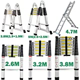 2.6M Telescopic Ladder DIY Aluminum Alloy Portable Folding Step Extendable Extension Straight Ladders EN131 Load Capacity 330lbs