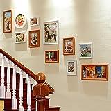 JLRQY Fotorahmen Wand Set Treppen Collage Bild Komplex Holzrahmen Hängende Dekorative Gemälde Für Korridor Gang, Sets Von 11,B