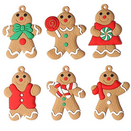 ARTEM Gingerbread Man Ornaments Gingerman Doll Hanging Charms Clay Figurine Ornaments for Christmas Tree Pendant Decoration, Holiday Decor, Set of 6