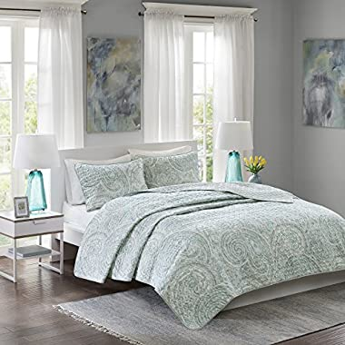 Comfort Spaces Kashmir Mini Quilt Set - 3 Piece - Paisley Pattern - Blue, Grey, King/California King Size, includes 1 Quilt, 2 Shams