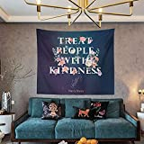 Treat People with Kindness Tapestry 51Hx60W Inspirational Quote Wall Decor Tpwk Poster Boutique Harry Art Styles merch Positivity Wall Hanging Bedroom Living Room Dorm Decor Fabric (Navy)