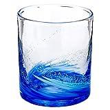 琉球ガラス海蛍ロックグラス青 (748-0063)神秘的に光るグラス作者:泉川寛勇沖縄県の工芸品Ryukyu glass Umihotaru Rock glass, Izumikawa Hiroisa, Okinawa craft