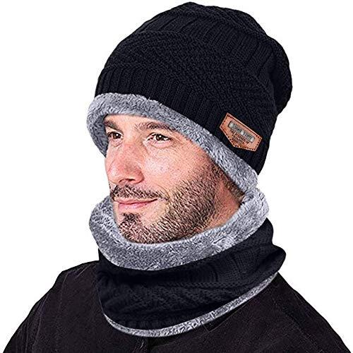miwaimao Gorro cálido de invierno para hombre, con ala gruesa y bufanda, gorro de dos piezas, para tejer, resistente al viento, tejido salvaje, con forro polar y forro polar, color café, color negro