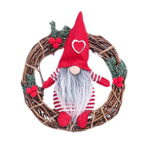 ErYao Mini Christmas Wreath for Front Door, Santa Wreath for Farmhouse Christmas Wall Door Decor,...