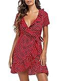 Clearlove Vestido de verano para mujer, cuello en V, blusa, manga corta, vestido de lunares, vestido corto para la playa, con volantes, minivestido (embalaje múltiple). Dot Red S