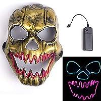 ハロウィンマスク 光るマスク スカルマスク 炎頭蓋骨 3つモード LED光るお面 おもちゃ パーティー コスプレ 学園祭 仮装大会 コスチューム なりきり道具 子供 大人用