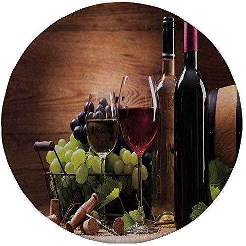 Rubber Gaming Mouse Pad,rutschfestes rundes Mousepad,Wein,Gläser Rot- und Weißwein,serviert mit Trauben French Gourmet Tasting Decorative,Brown Ruby Light Green,20CM