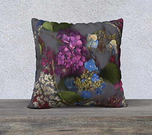 DKISEE Square Cotton Linen Pillowcase 26 Inch Soft Cushion Cover Flowered Pillow Cover Purple And Blue Hydrangea Flower Collage Pillow Cover Floral Accent Throw Pillowcase