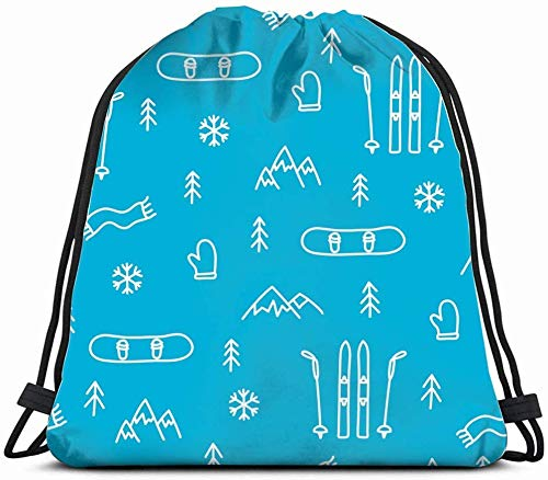 Bergskiën Snowboarden Concept Ski Trekkoord Rugzak Gym Zak Lichtgewicht Tas Waterbestendige Gym Rugzak voor Vrouwen & Mannen voor Sport Reizen Wandelen Camping Winkelen Yoga 14x17 Inch