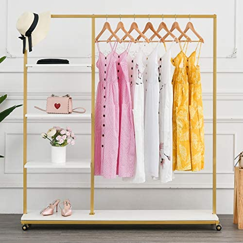 BOSURU Rolling Gold Clothing Racks on Wheels with Metal Pipes Modern Floor Standing Clothes product image