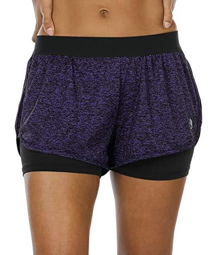 icyzone Damen Kurze Sport Hose Running Gym Workout Shorts 2 in 1 (S, Purple)