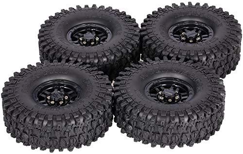 4Pcs 1.9 Inch 120mm Crawler RC Tires with Hub - Ultra Soft Rock Crawler Tires Foam Insert for RC Car 1/10 Axial SCX10 90047 D90 D110 TF2 Tamiya CC01 TRX-4 Traxxas Redcat SCX10 AXIAL RC4WD