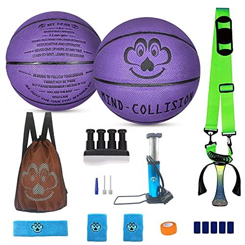 (2 piezas) Baloncesto tallado, No. 5 No. 7 Conjunto de regalo deportivo, cuero absorbente de sudor suave, adecuado para hermanos, hermanos, hermanas, gemelos, padre-hijo,Púrpura,Package B (No. 5+7)