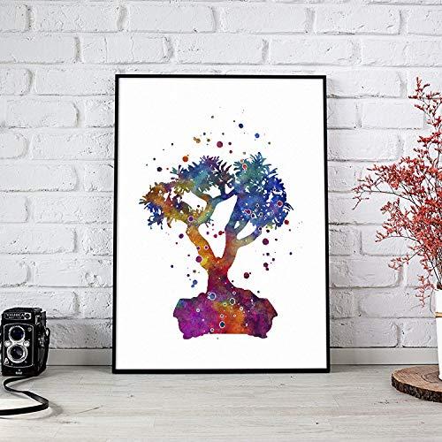 Bonsai Aquarel bedrukken boomkunst voor wooncultuur woonkamer muurkunst housewarming party cadeau voor haar