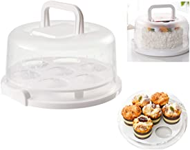 1Pack 9Inch X 4-1/4Inch Cake Carrier,Cake carrier with foldable handle, 7-hole cupcake holder