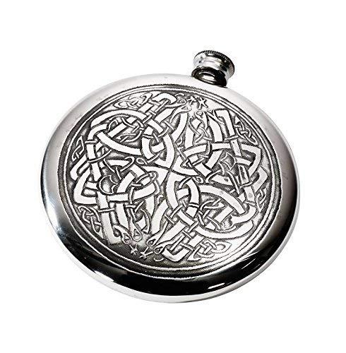 Wentworth Pewter - Celtic Pattern Polished Round Pewter Sporran Flask, Spirit Flask, 4oz Capacity