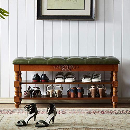 aipipl Banco de Zapatos Vintage con Tapa elevadora de Almacenamiento, Zapatero de 3 Niveles, Banco de Descanso de Asiento de botón capitoné tapizado en Cuero para Entrada, Sala de Estar, Pasillo