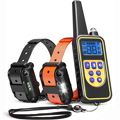 iSPECLE Dog Training Collar, Waterproof Rechargeable 2600ft Remote Dog Shock Collar with LED Light, Beep, Vibration, Shock for Medium/Large Breed 2 Electronic Collars, Neck Lanyard