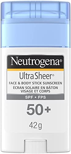 Neutrogena Sunscreen Stick SPF 50+, Ultra Sheer Water Resistant Sun Protection Stick for Face and Body, 42g Travel Size