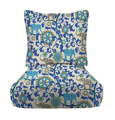 """RSH Décor Indoor Outdoor Deep Seating Cushion Set, 24""""x 24"""" x 5"""" Seat and 25"""" x 21"""" Back, Choose Color (Blue Elephant Bohemian)"""